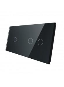 Podwójny panel szklany LIVOLO 7012| Czarny
