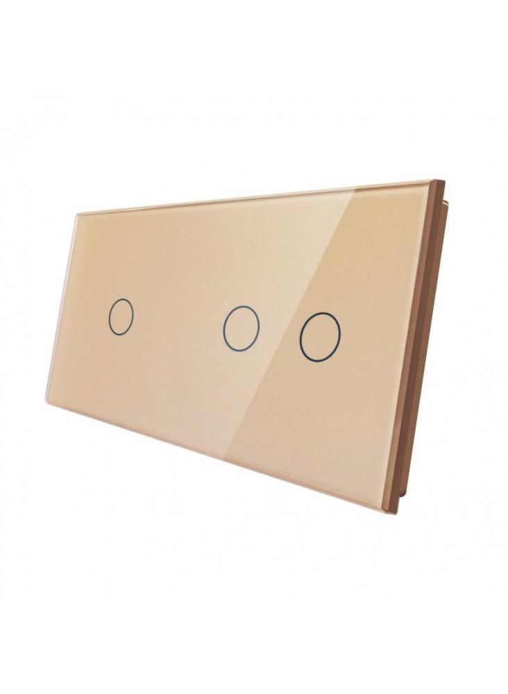 Podwójny panel szklany LIVOLO 7012| Szampański