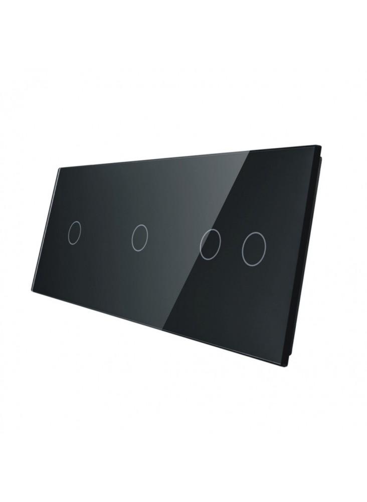 Potrójny panel szklany LIVOLO 70112 | Czarny