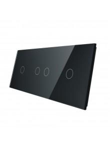 Potrójny panel szklany LIVOLO 70121 | Czarny