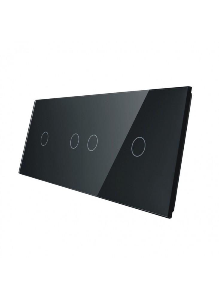 Potrójny panel szklany LIVOLO 70121   Czarny