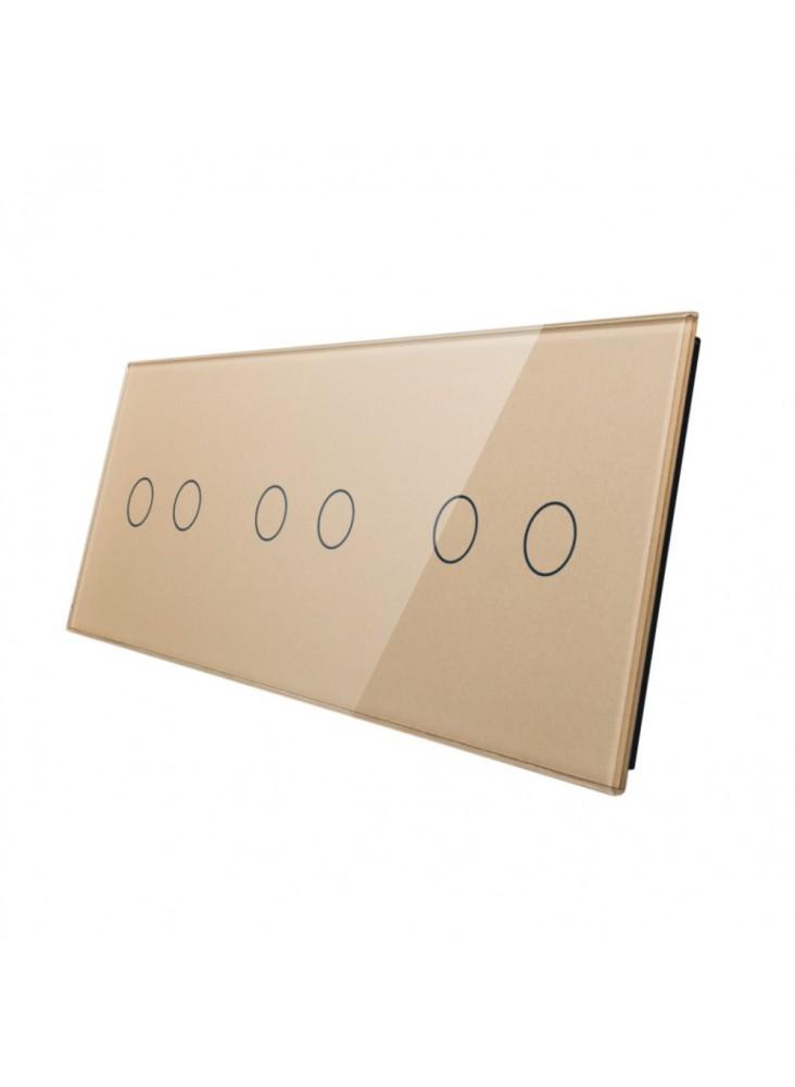 Potrójny panel szklany LIVOLO 70222 | Szampański
