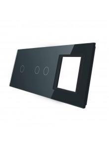 Potrójny panel szklany LIVOLO 7012G | Czarny
