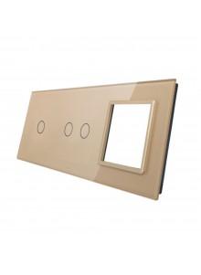 Potrójny panel szklany LIVOLO 7012G | Szampański