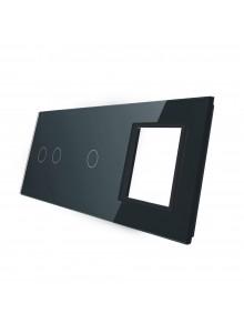 Potrójny panel szklany LIVOLO 7021G | Czarny