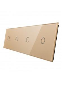 Poczwórny panel szklany LIVOLO 701111 | Szampański