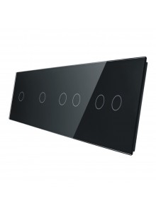 Poczwórny panel szklany LIVOLO 701122 | Czarny