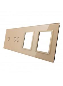 Poczwórny panel szklany LIVOLO 7012GG | Szampański