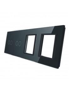 Poczwórny panel szklany LIVOLO 7022GG | Czarny