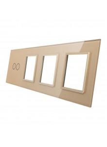 Poczwórny panel szklany LIVOLO 702GGG | Szampański