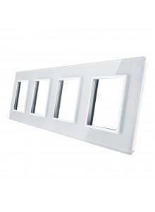Poczwórna ramka szklana LIVOLO GPF-4 | Biały