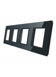 Poczwórna ramka szklana LIVOLO GPF-4 | Czarny