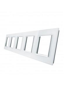 Pięciokrotna ramka szklana LIVOLO GPF-5 | Biały