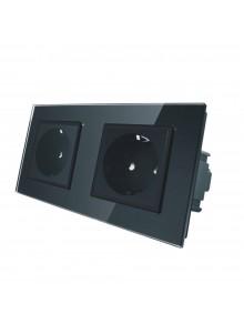 Gniazdo wtykowe podwójne schuko 230V Livolo | Czarny