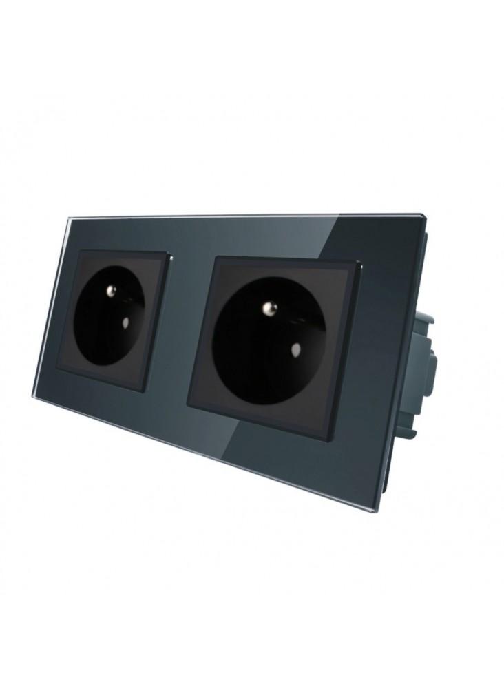 Gniazdo wtykowe podwójne z bolcem 230V Livolo | Czarny