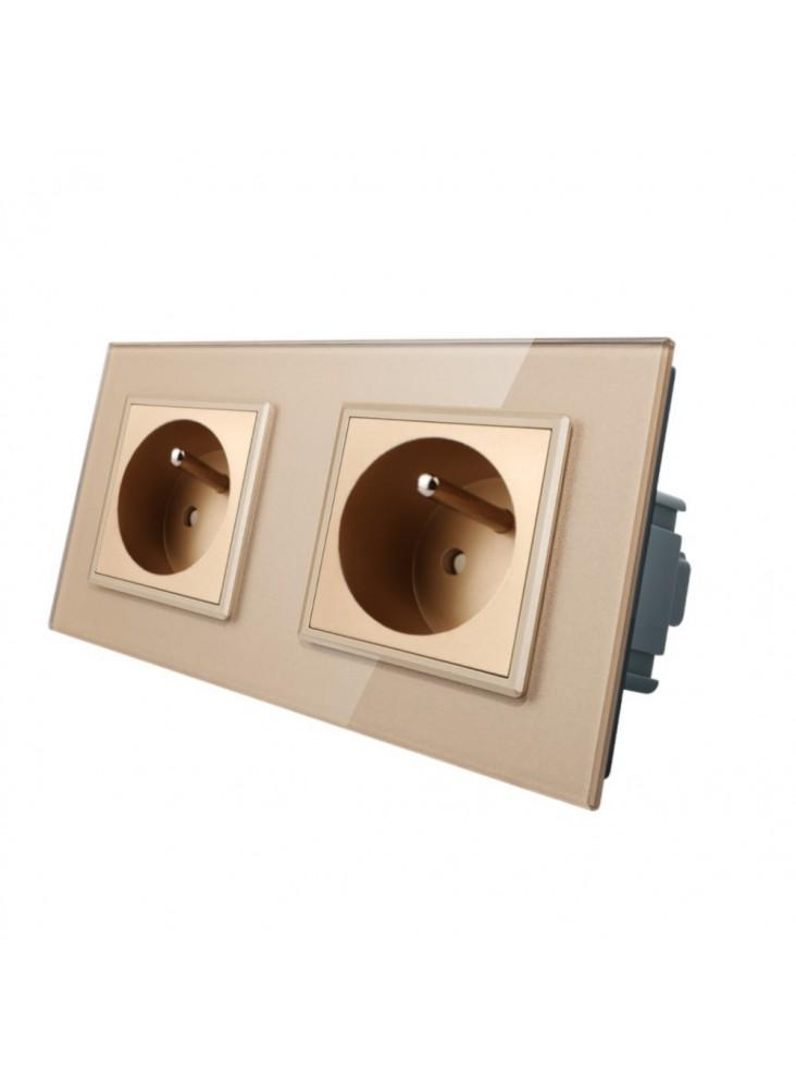 Gniazdo wtykowe podwójne z bolcem 230V Livolo | Szampański