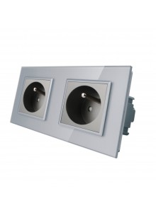 Gniazdo wtykowe podwójne z bolcem 230V Livolo | Szary