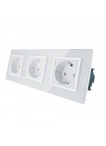 Gniazdo wtykowe potrójne schuko 230V Livolo | Biały
