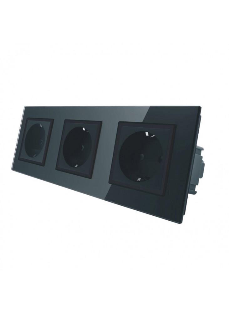 Gniazdo wtykowe potrójne schuko 230V Livolo | Czarny