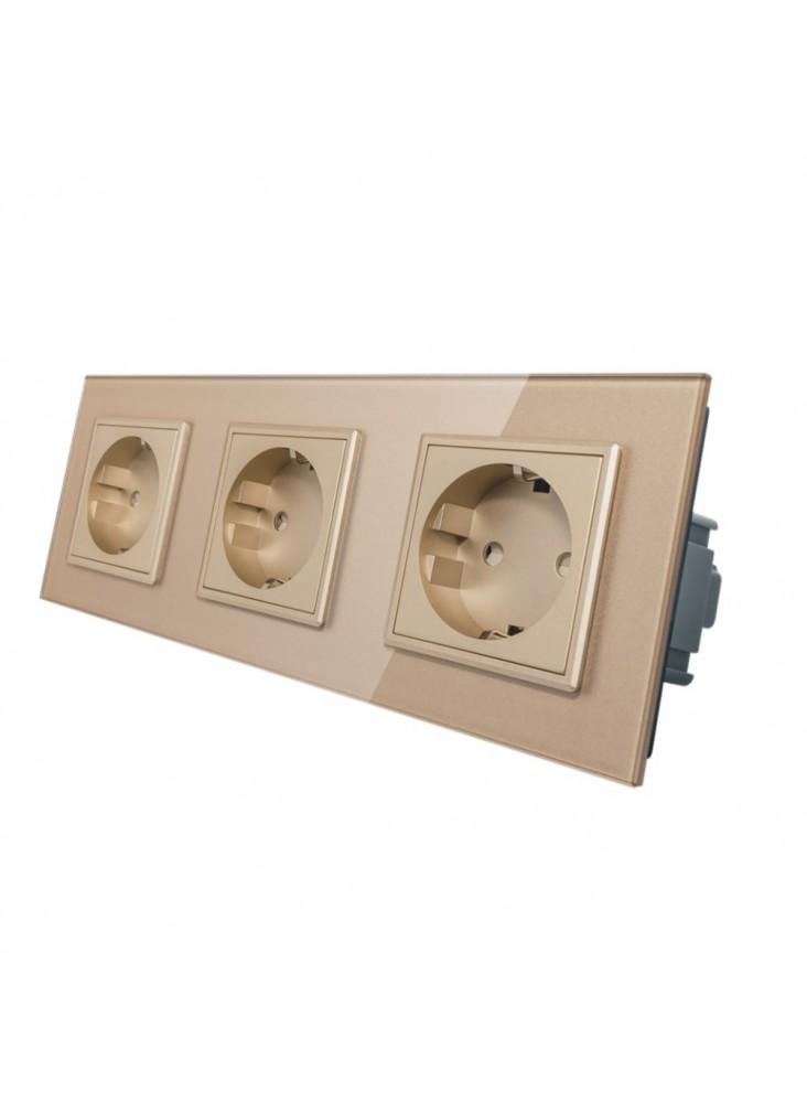 Gniazdo wtykowe potrójne schuko 230V Livolo | Szampański
