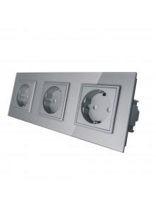 Gniazdo wtykowe potrójne schuko 230V Livolo | Szary