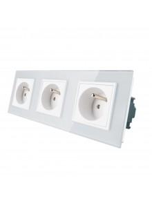 Gniazdo wtykowe potrójne z bolcem 230V Livolo | Biały