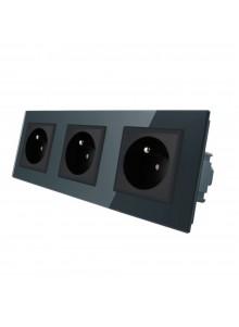 Gniazdo wtykowe potrójne z bolcem 230V Livolo | Czarny