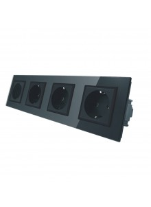 Gniazdo wtykowe poczwórne Schuko 230V Livolo | Czarny