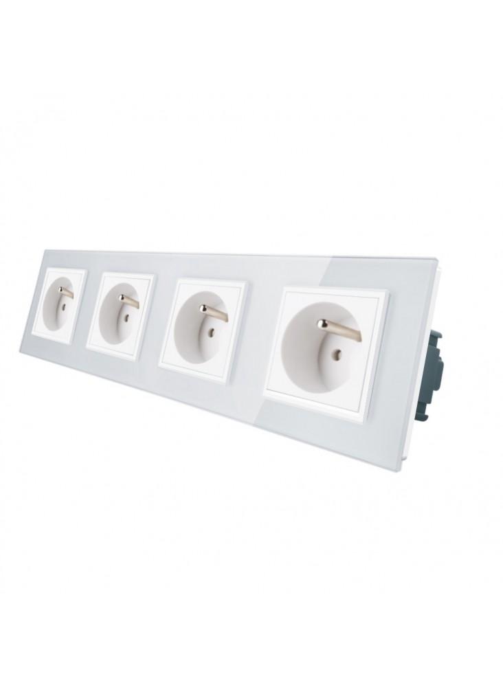 Gniazdo wtykowe poczwórne z bolcem 230V Livolo | Biały
