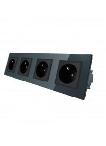 Gniazdo wtykowe poczwórne z bolcem 230V Livolo | Czarny