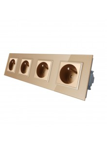 Gniazdo wtykowe poczwórne z bolcem 230V Livolo | Szampański