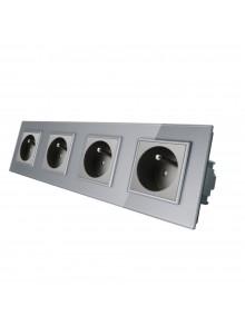 Gniazdo wtykowe poczwórne z bolcem 230V Livolo | Szary