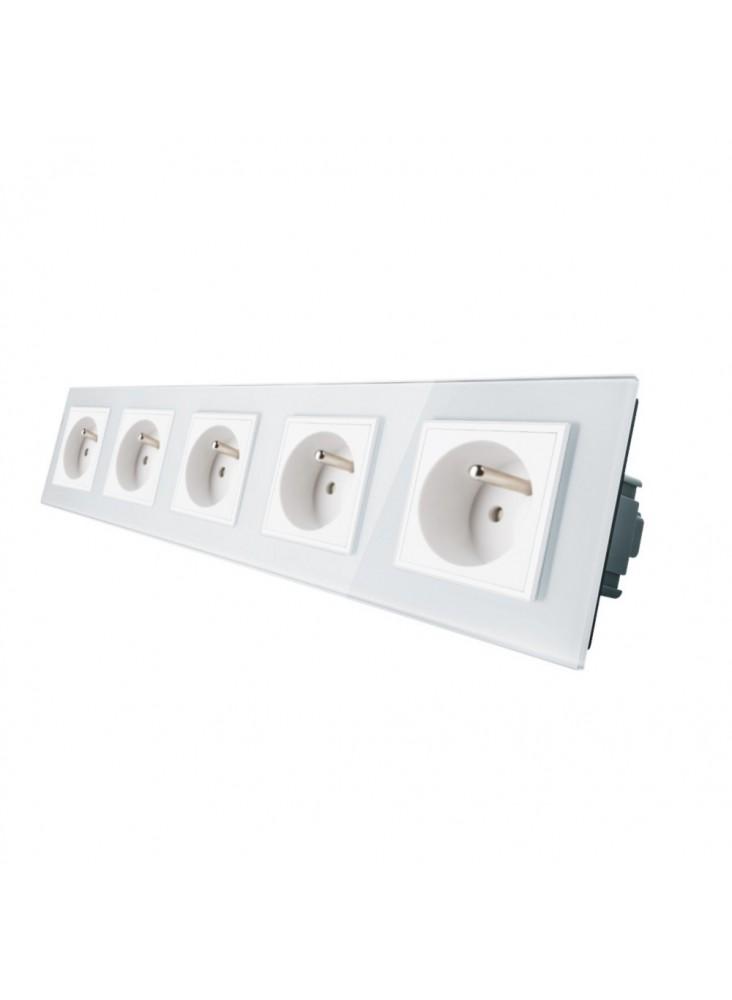 Gniazdo wtykowe pięciokrotne z bolcem 230V Livolo | Biały
