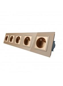 Gniazdo wtykowe pięciokrotne z bolcem 230V Livolo | Szampański