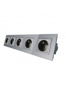 Gniazdo wtykowe pięciokrotne z bolcem 230V Livolo | Szary