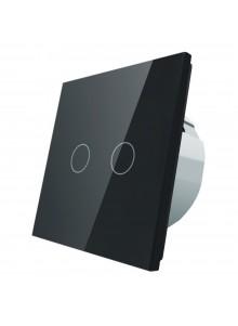 Włącznik dotykowy podwójny LIVOLO VL-C702 | Czarny