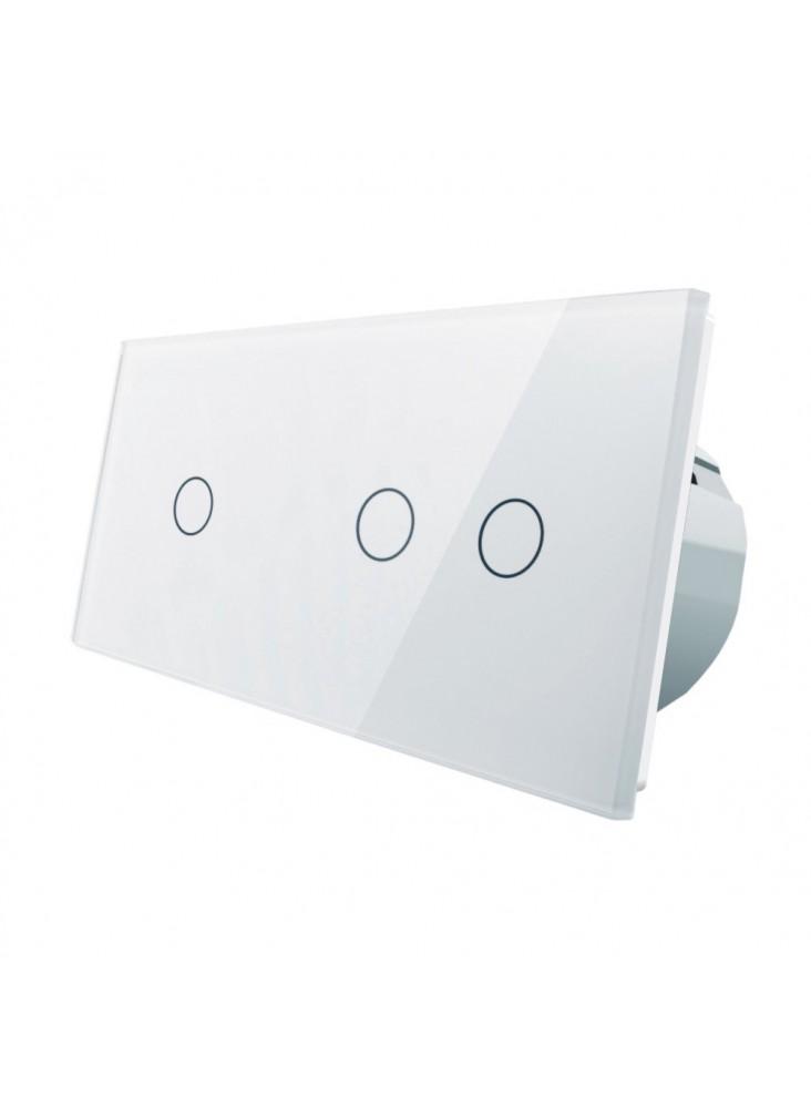 Włącznik dotykowy pojedynczy + podwójny LIVOLO VL-C7012 | Biały