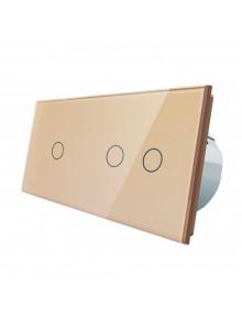 Włącznik dotykowy pojedynczy + podwójny LIVOLO VL-C7012 | Szampański