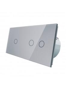 Włącznik dotykowy pojedynczy + podwójny LIVOLO VL-C7012 | Szary