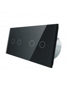 Włącznik dotykowy podwójny + podwójny LIVOLO VL-C7022 | Czarny