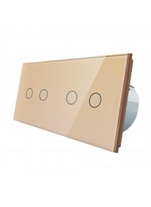 Włącznik dotykowy podwójny + podwójny LIVOLO VL-C7022 | Szampański