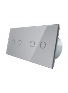 Włącznik dotykowy podwójny + podwójny LIVOLO VL-C7022 | Szary