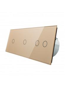 Włącznik dotykowy poczwórny (1+1+2) LIVOLO VL-C70112 | Szampański