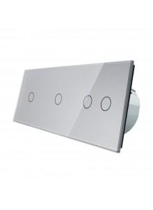Włącznik dotykowy poczwórny (1+1+2) LIVOLO VL-C70112 | Szary