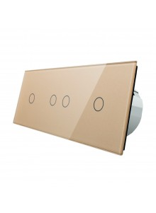 Włącznik dotykowy poczwórny (1+2+1) LIVOLO VL-C70121 | Szampański