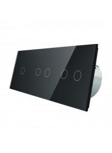Włącznik dotykowy pięciokrotny (1+2+2) LIVOLO VL-C70122 | Czarny