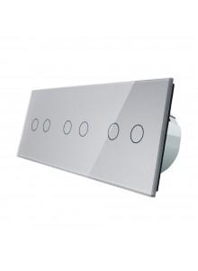 Włącznik dotykowy sześciokrotny (2+2+2) LIVOLO VL-C70222 | Szary