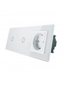 Gniazdo + 2x włącznik pojedynczy LIVOLO | VL-C7011G | Biały
