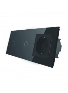 Gniazdo + 2x włącznik pojedynczy LIVOLO | VL-C7011G | Czarny