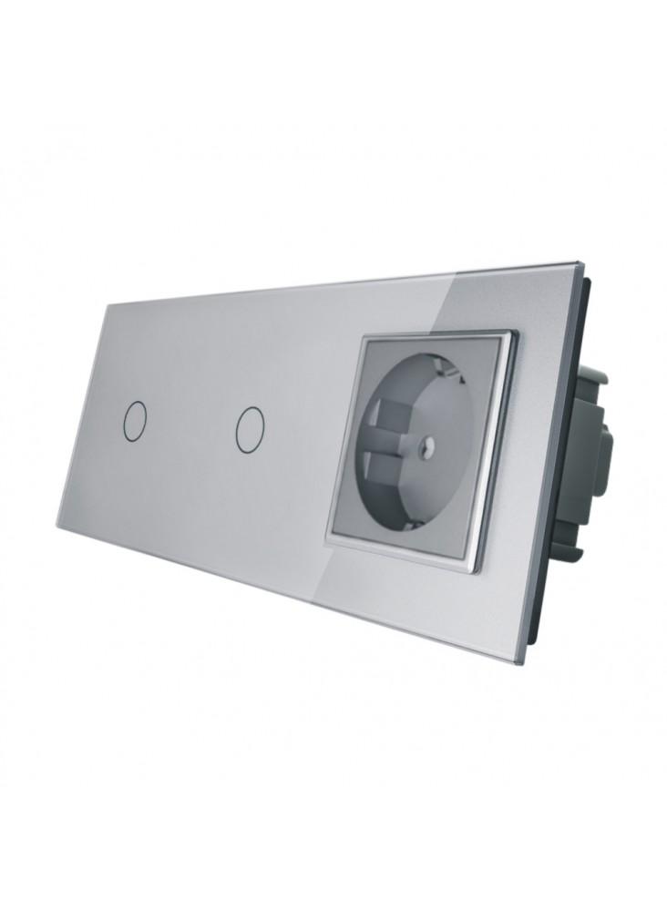 Gniazdo + 2x włącznik pojedynczy LIVOLO | VL-C7011G | Szary